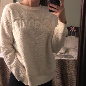 White plush Calvin Klein sweatshirt